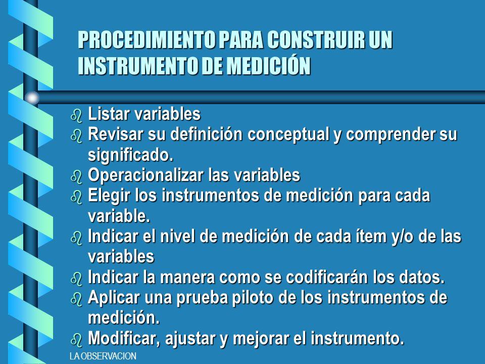 LA OBSERVACION PROCEDIMIENTO PARA CONSTRUIR UN INSTRUMENTO DE MEDICIÓN b Listar variables b Revisar su definición conceptual y comprender su significado.