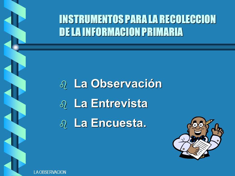 LA OBSERVACION INSTRUMENTOS PARA LA RECOLECCION DE LA INFORMACION PRIMARIA b La Observación b La Entrevista b La Encuesta.