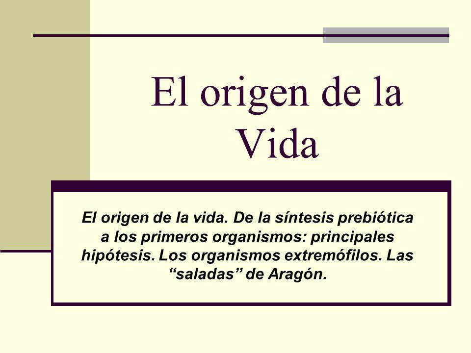 El origen de la Vida El origen de la vida. De la síntesis prebiótica a los primeros organismos: principales hipótesis. Los organismos extremófilos. La