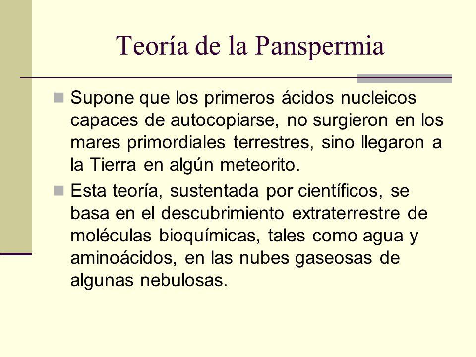 Teoría de la Panspermia Supone que los primeros ácidos nucleicos capaces de autocopiarse, no surgieron en los mares primordiales terrestres, sino lleg
