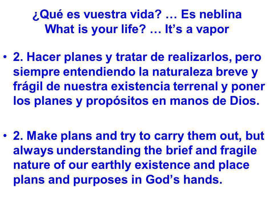 ¿Qué es vuestra vida? … Es neblina What is your life? … Its a vapor 2. Hacer planes y tratar de realizarlos, pero siempre entendiendo la naturaleza br