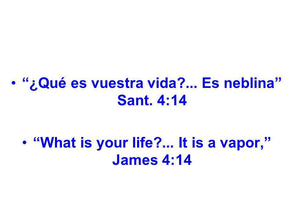 ¿Qué es vuestra vida?... Es neblina Sant. 4:14 What is your life?... It is a vapor, James 4:14