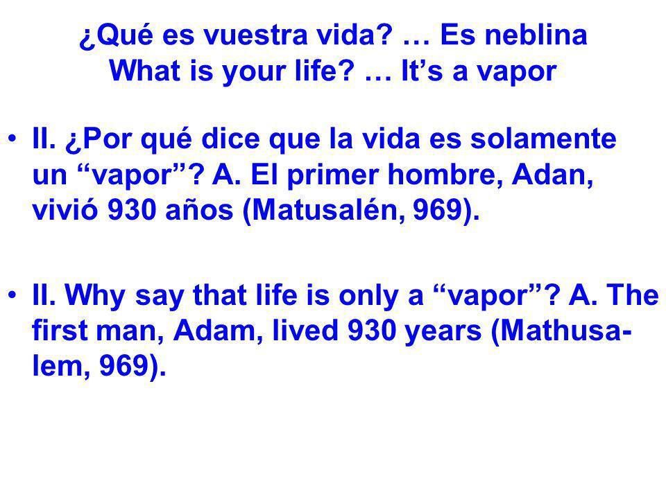 ¿Qué es vuestra vida? … Es neblina What is your life? … Its a vapor II. ¿Por qué dice que la vida es solamente un vapor? A. El primer hombre, Adan, vi