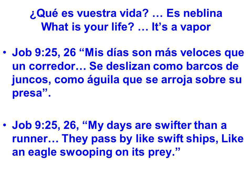 ¿Qué es vuestra vida? … Es neblina What is your life? … Its a vapor Job 9:25, 26 Mis días son más veloces que un corredor… Se deslizan como barcos de