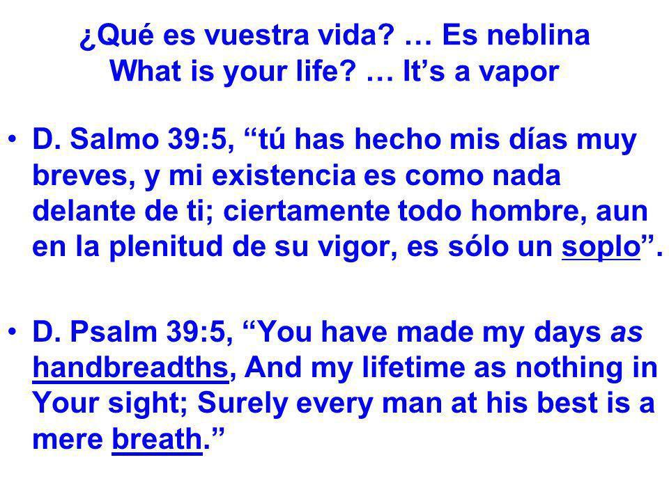 ¿Qué es vuestra vida? … Es neblina What is your life? … Its a vapor D. Salmo 39:5, tú has hecho mis días muy breves, y mi existencia es como nada dela