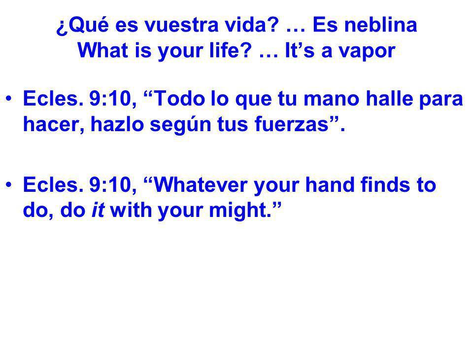 ¿Qué es vuestra vida? … Es neblina What is your life? … Its a vapor Ecles. 9:10, Todo lo que tu mano halle para hacer, hazlo según tus fuerzas. Ecles.