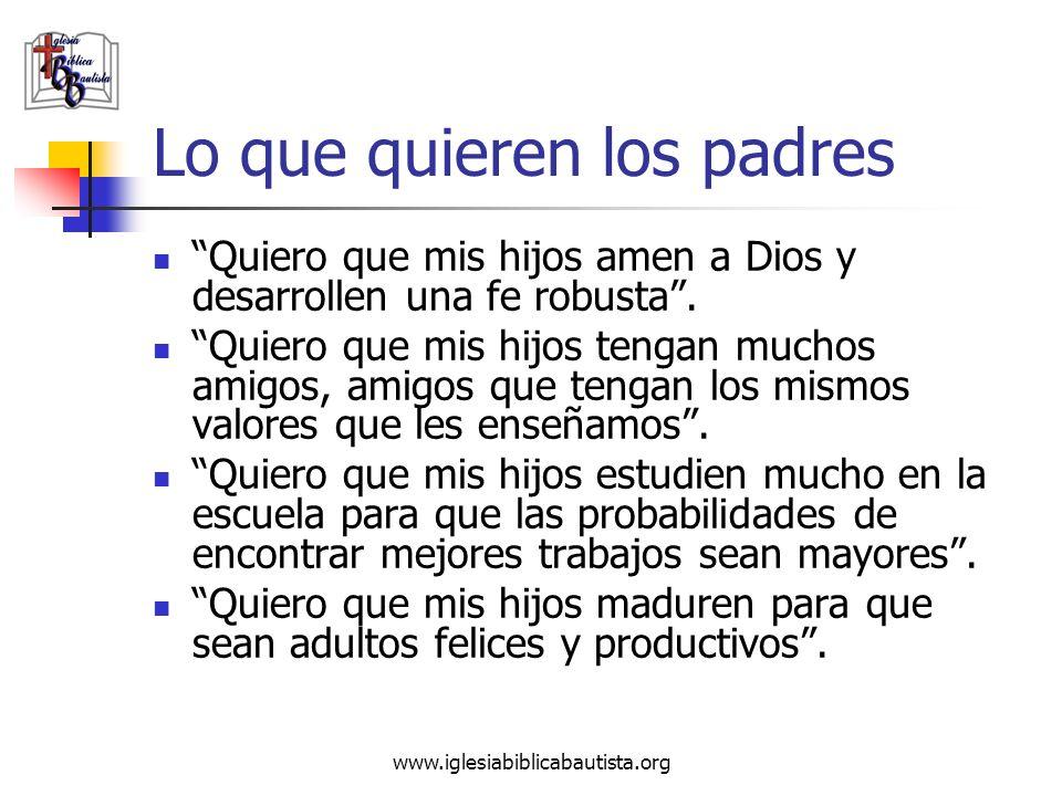 www.iglesiabiblicabautista.org Lo que quieren los padres Quiero que mis hijos amen a Dios y desarrollen una fe robusta. Quiero que mis hijos tengan mu