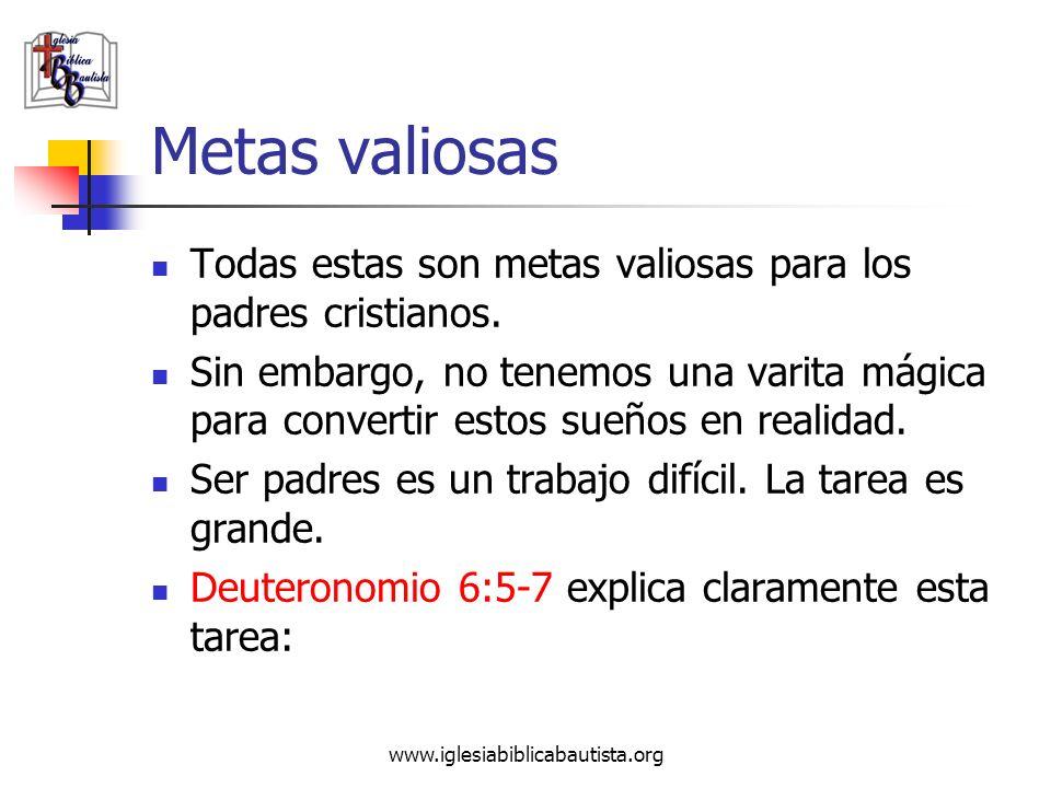 www.iglesiabiblicabautista.org Metas valiosas Todas estas son metas valiosas para los padres cristianos. Sin embargo, no tenemos una varita mágica par