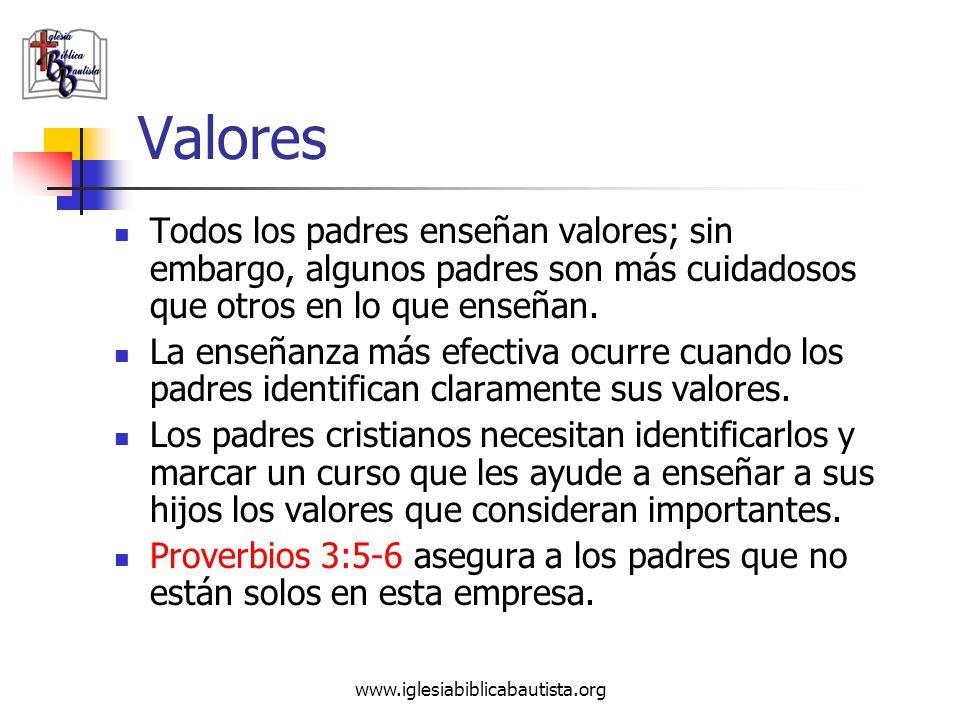 www.iglesiabiblicabautista.org Valores Todos los padres enseñan valores; sin embargo, algunos padres son más cuidadosos que otros en lo que enseñan. L