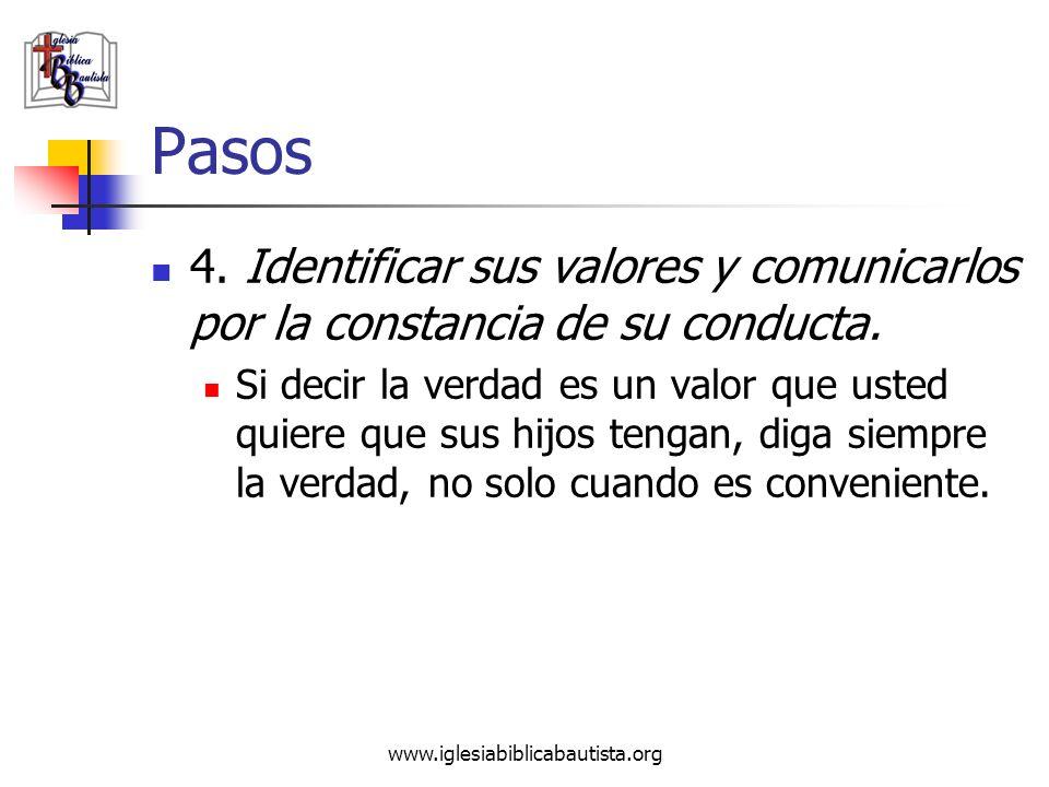 www.iglesiabiblicabautista.org Pasos 4. Identificar sus valores y comunicarlos por la constancia de su conducta. Si decir la verdad es un valor que us
