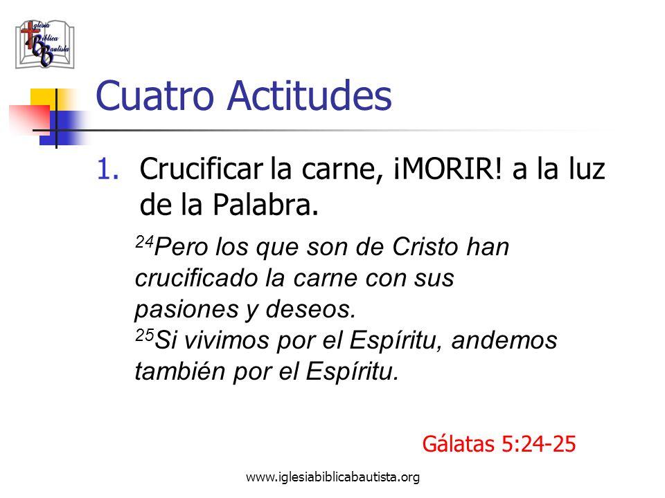 www.iglesiabiblicabautista.org Cuatro Actitudes 1.Crucificar la carne, ¡MORIR! a la luz de la Palabra. 24 Pero los que son de Cristo han crucificado l