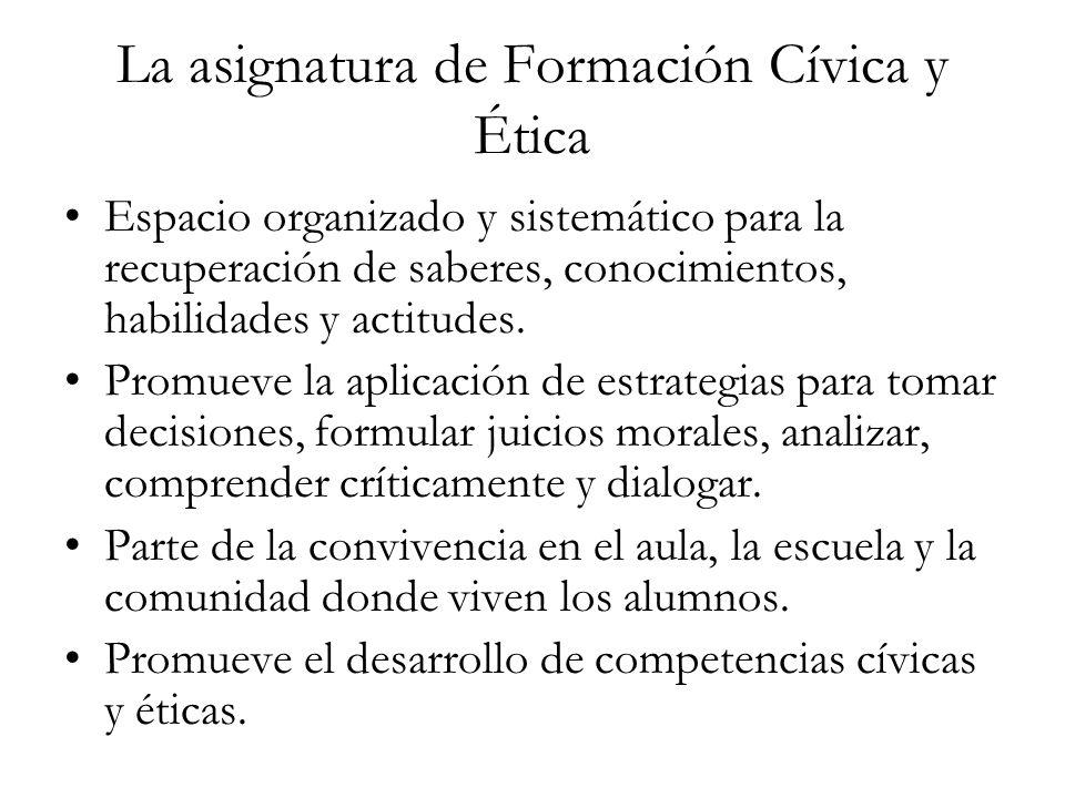 La asignatura de Formación Cívica y Ética Espacio organizado y sistemático para la recuperación de saberes, conocimientos, habilidades y actitudes. Pr