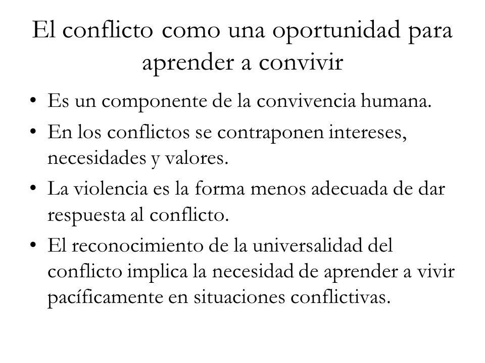 El conflicto como una oportunidad para aprender a convivir Es un componente de la convivencia humana. En los conflictos se contraponen intereses, nece