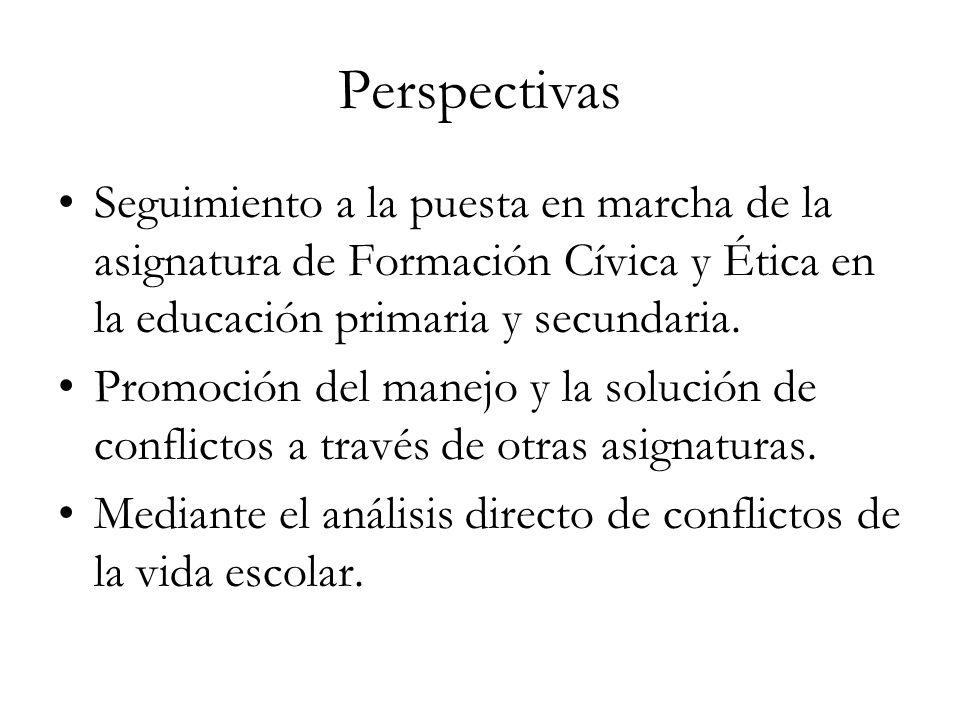 Perspectivas Seguimiento a la puesta en marcha de la asignatura de Formación Cívica y Ética en la educación primaria y secundaria. Promoción del manej