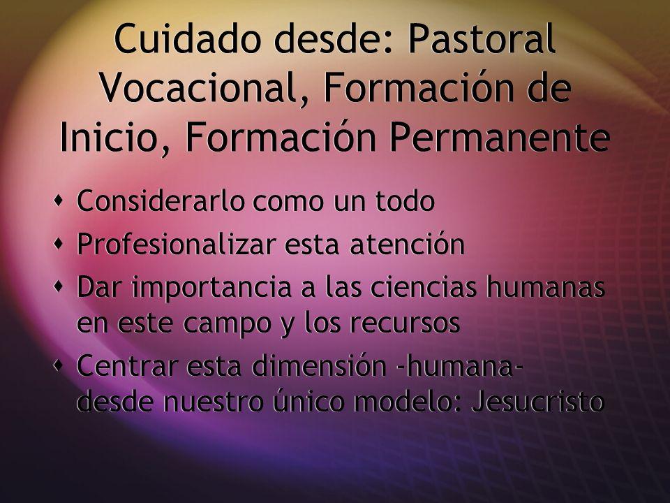 Cuidado desde: Pastoral Vocacional, Formación de Inicio, Formación Permanente Considerarlo como un todo Profesionalizar esta atención Dar importancia