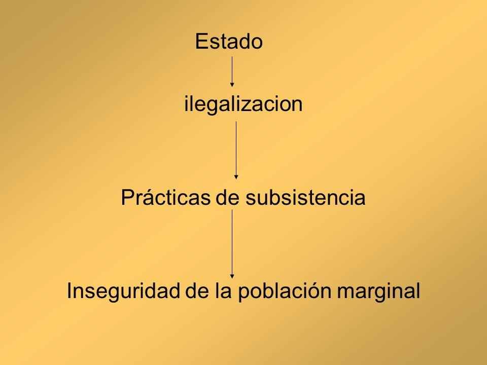 Estado ilegalizacion Prácticas de subsistencia Inseguridad de la población marginal