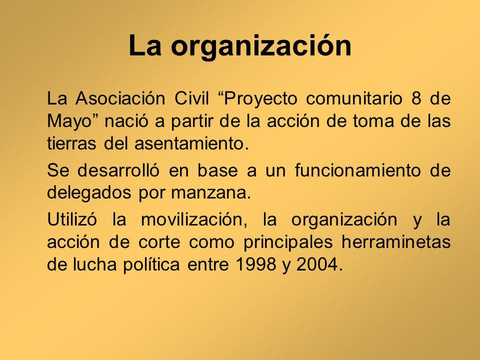La organización La Asociación Civil Proyecto comunitario 8 de Mayo nació a partir de la acción de toma de las tierras del asentamiento. Se desarrolló