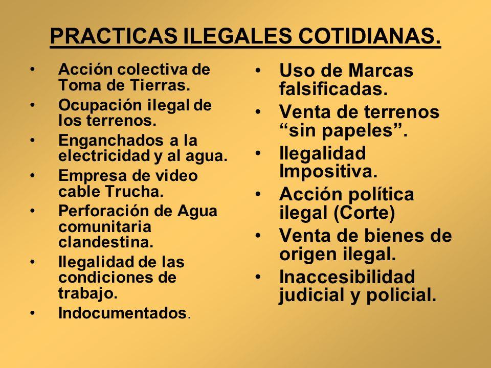 PRACTICAS ILEGALES COTIDIANAS. Acción colectiva de Toma de Tierras. Ocupación ilegal de los terrenos. Enganchados a la electricidad y al agua. Empresa