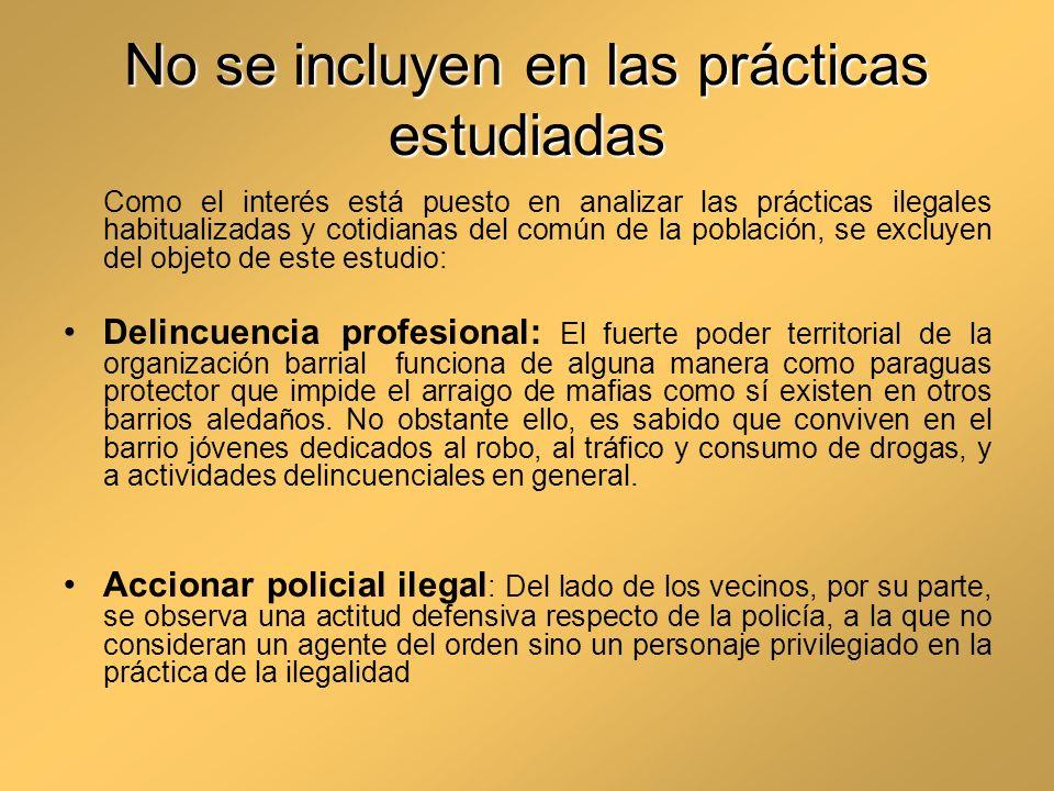 No se incluyen en las prácticas estudiadas Como el interés está puesto en analizar las prácticas ilegales habitualizadas y cotidianas del común de la