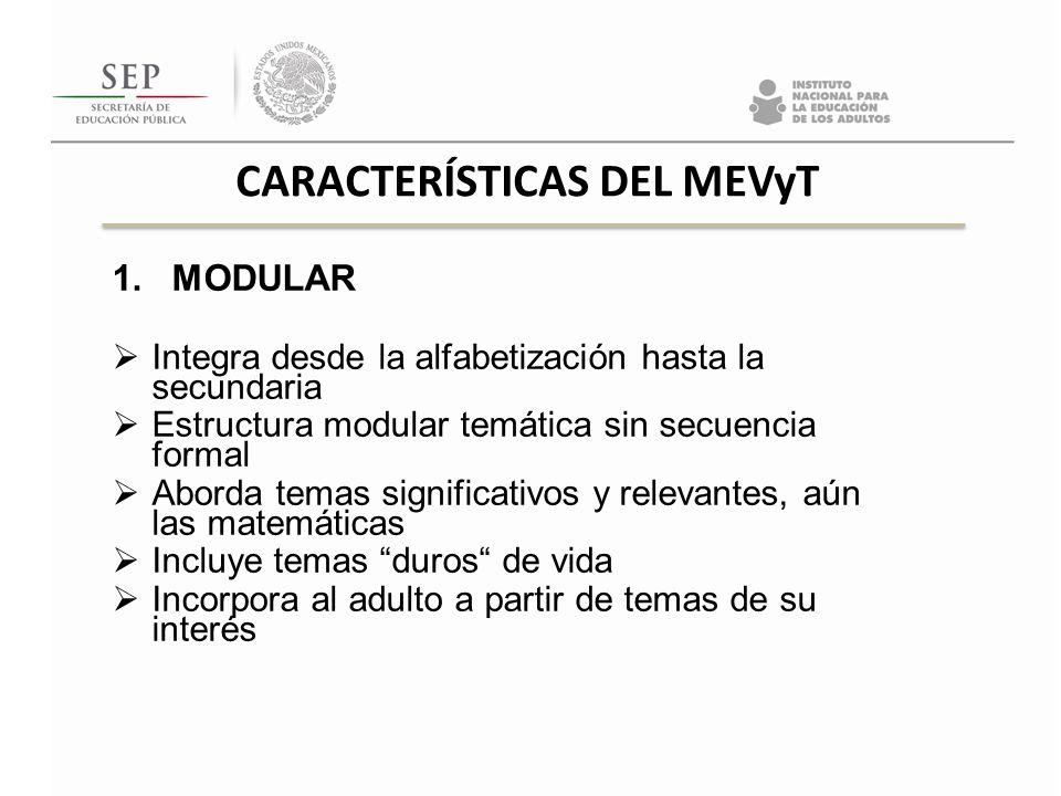 1.MODULAR Integra desde la alfabetización hasta la secundaria Estructura modular temática sin secuencia formal Aborda temas significativos y relevante
