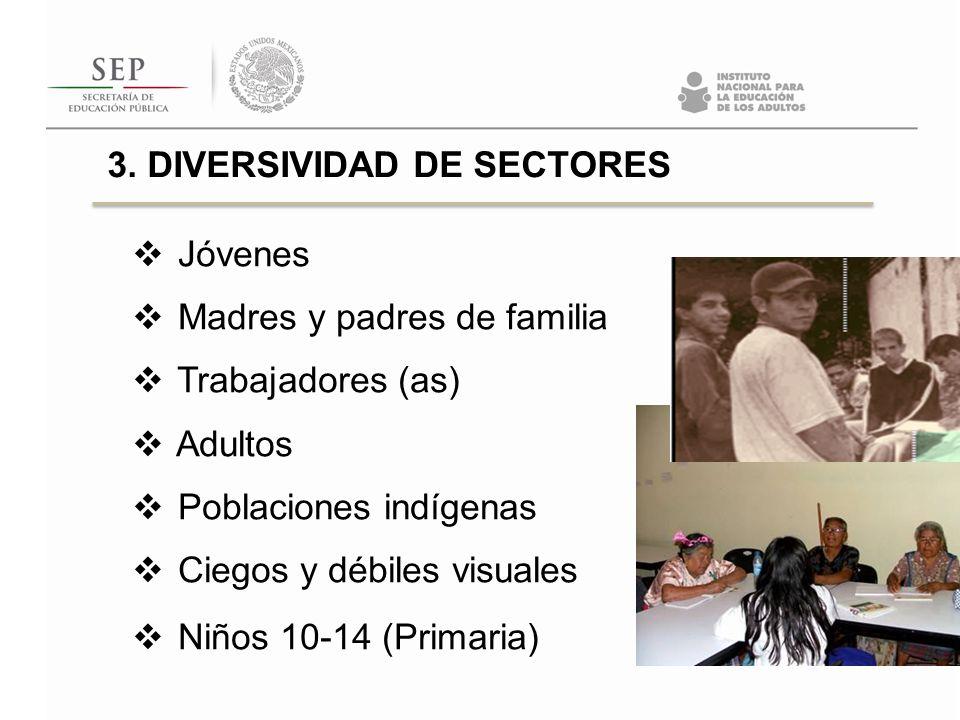 3. DIVERSIVIDAD DE SECTORES Jóvenes Madres y padres de familia Trabajadores (as) Adultos Poblaciones indígenas Ciegos y débiles visuales Niños 10-14 (