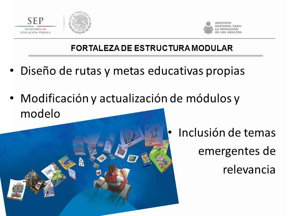 Diseño de rutas y metas educativas propias Modificación y actualización de módulos y modelo FORTALEZA DE ESTRUCTURA MODULAR Inclusión de temas emergen