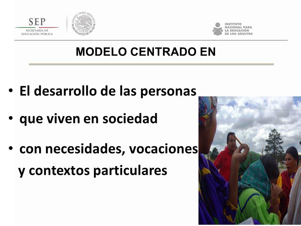 El desarrollo de las personas que viven en sociedad con necesidades, vocaciones y contextos particulares MODELO CENTRADO EN