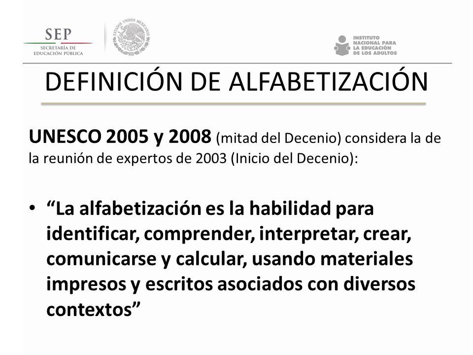 DEFINICIÓN DE ALFABETIZACIÓN UNESCO 2005 y 2008 (mitad del Decenio) considera la de la reunión de expertos de 2003 (Inicio del Decenio): La alfabetiza
