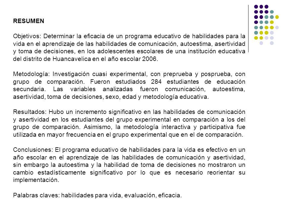 RESUMEN Objetivos: Determinar la eficacia de un programa educativo de habilidades para la vida en el aprendizaje de las habilidades de comunicación, a