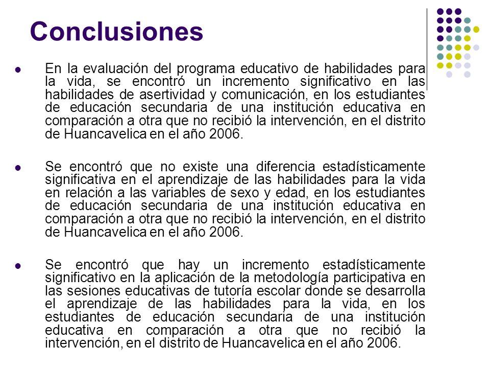 Conclusiones En la evaluación del programa educativo de habilidades para la vida, se encontró un incremento significativo en las habilidades de aserti