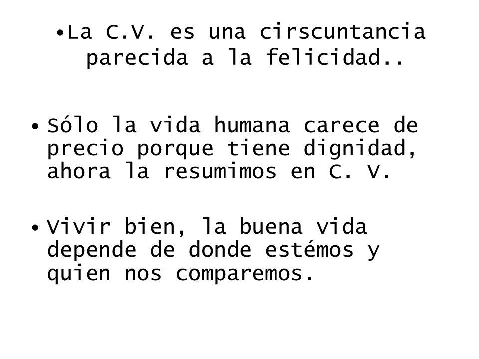 La C.V. es una cirscuntancia parecida a la felicidad.. Sólo la vida humana carece de precio porque tiene dignidad, ahora la resumimos en C. V. Vivir b