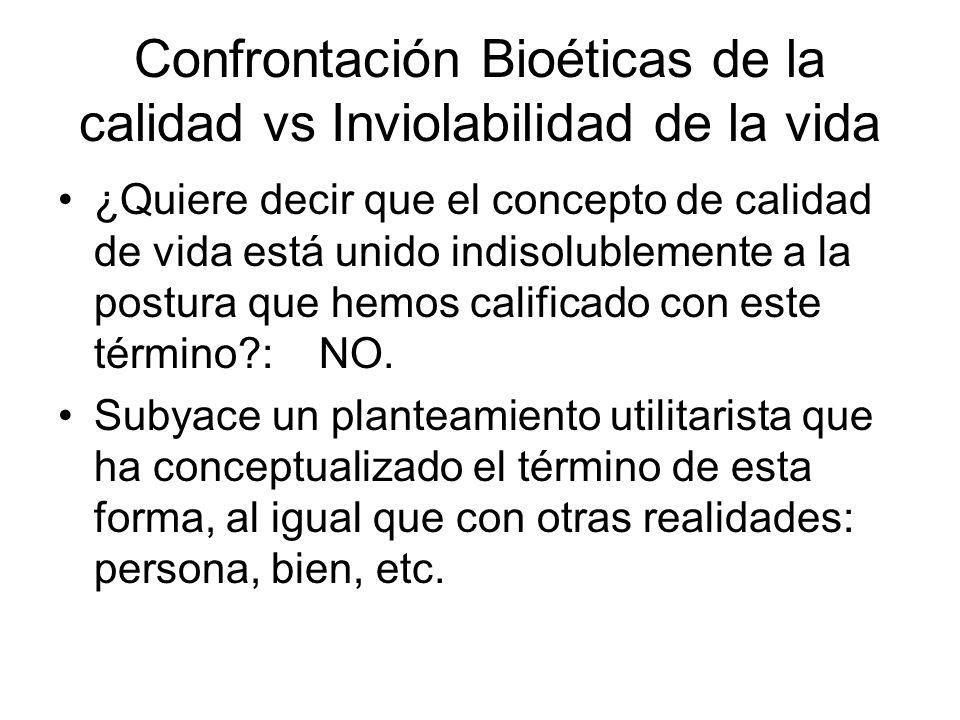 Confrontación Bioéticas de la calidad vs Inviolabilidad de la vida ¿Quiere decir que el concepto de calidad de vida está unido indisolublemente a la p