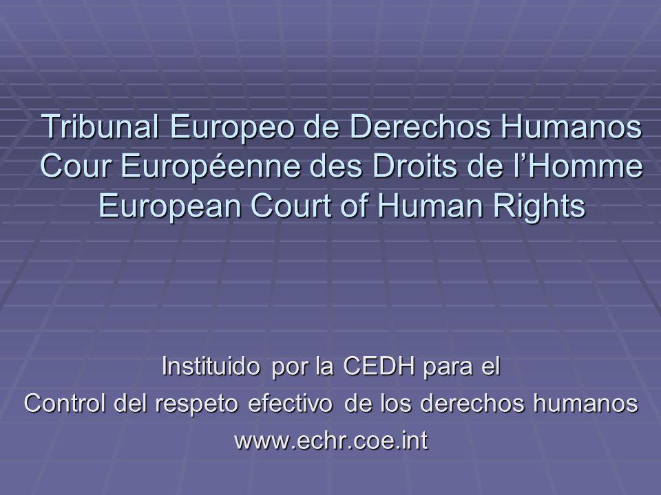 Tribunal Europeo de Derechos Humanos Cour Européenne des Droits de lHomme European Court of Human Rights Instituido por la CEDH para el Control del re