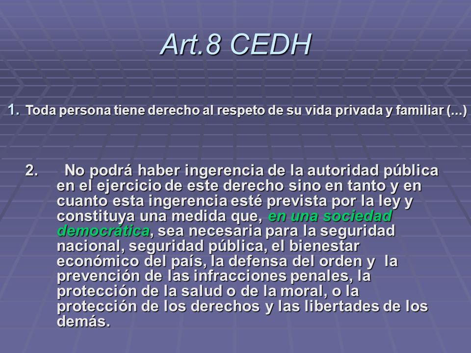 Art.8 CEDH 2. No podrá haber ingerencia de la autoridad pública en el ejercicio de este derecho sino en tanto y en cuanto esta ingerencia esté previst