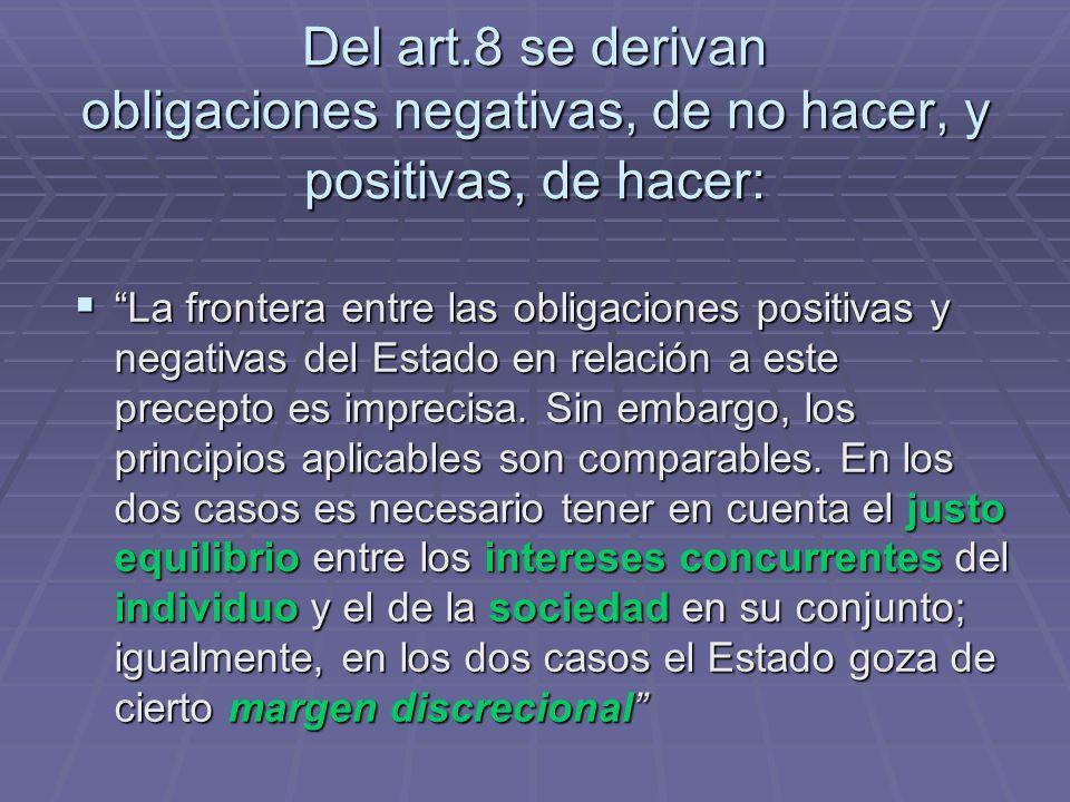 Del art.8 se derivan obligaciones negativas, de no hacer, y positivas, de hacer: La frontera entre las obligaciones positivas y negativas del Estado e