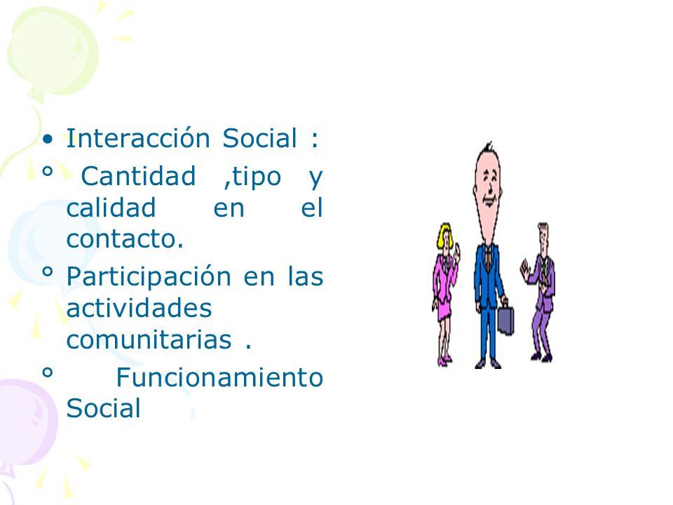 Interacción Social : ° Cantidad,tipo y calidad en el contacto. ° Participación en las actividades comunitarias. ° Funcionamiento Social