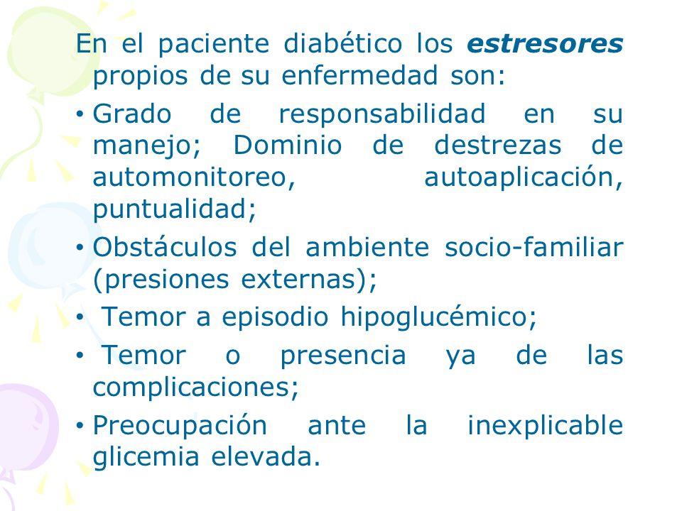 En el paciente diabético los estresores propios de su enfermedad son: Grado de responsabilidad en su manejo; Dominio de destrezas de automonitoreo, au