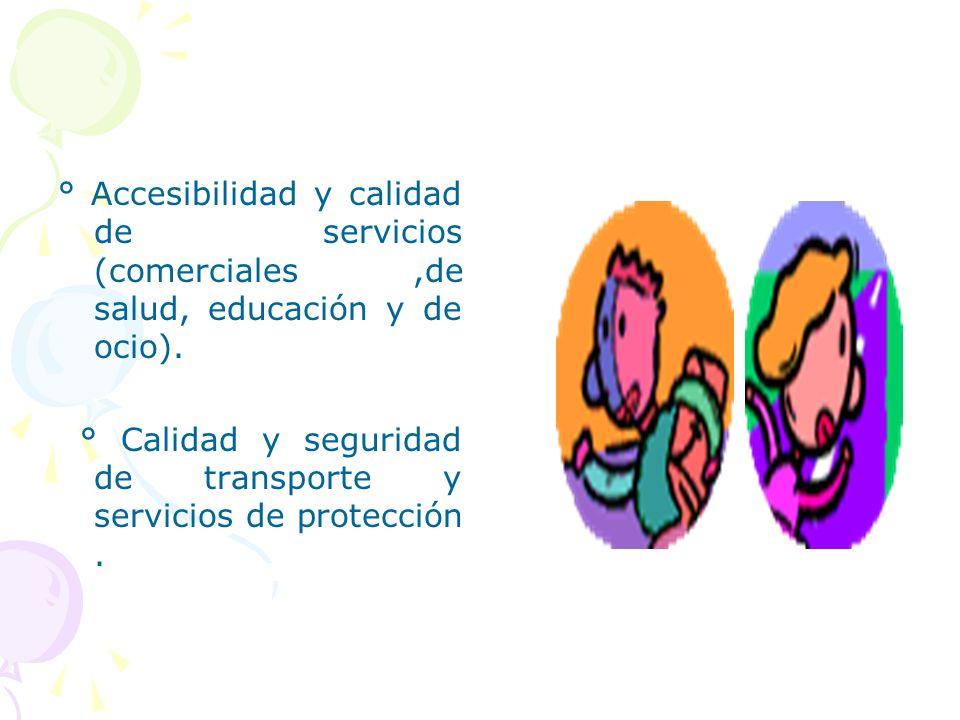 ° Accesibilidad y calidad de servicios (comerciales,de salud, educación y de ocio). ° Calidad y seguridad de transporte y servicios de protección.