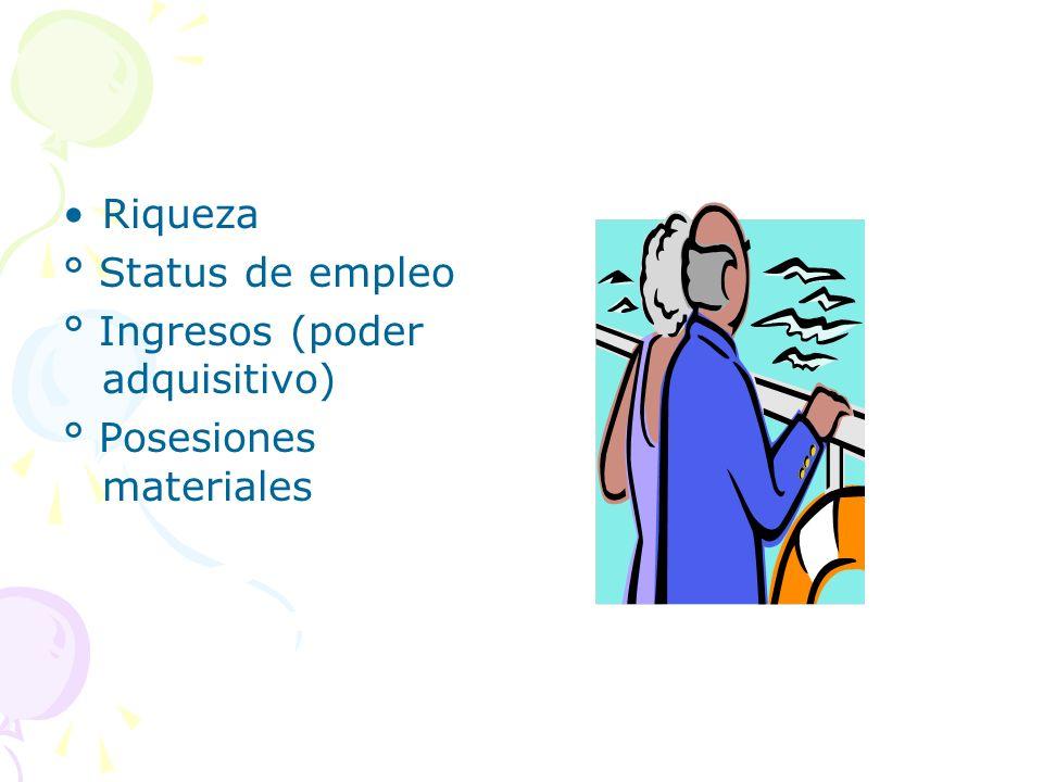 Riqueza ° Status de empleo ° Ingresos (poder adquisitivo) ° Posesiones materiales