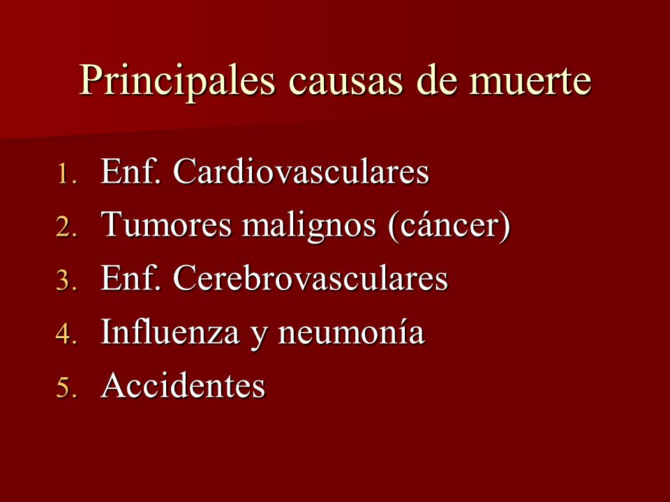 Principales causas de muerte 1. Enf. Cardiovasculares 2. Tumores malignos (cáncer) 3. Enf. Cerebrovasculares 4. Influenza y neumonía 5. Accidentes