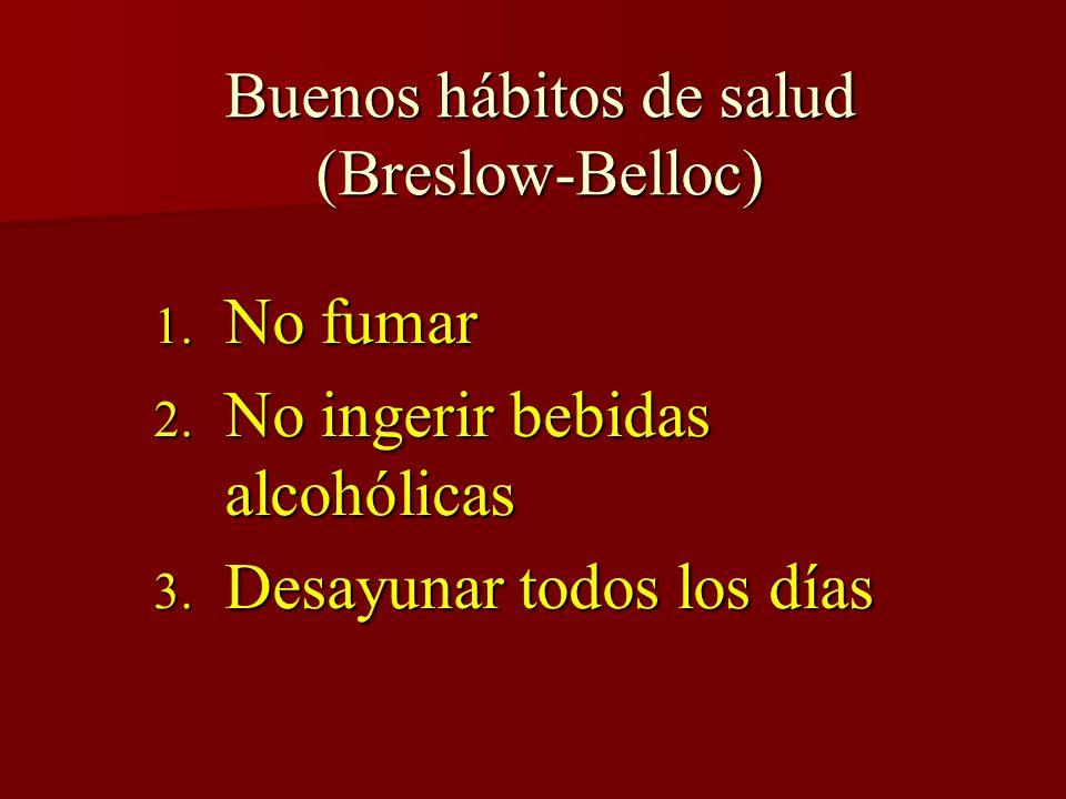 Buenos hábitos de salud (Breslow-Belloc) 1. No fumar 2. No ingerir bebidas alcohólicas 3. Desayunar todos los días
