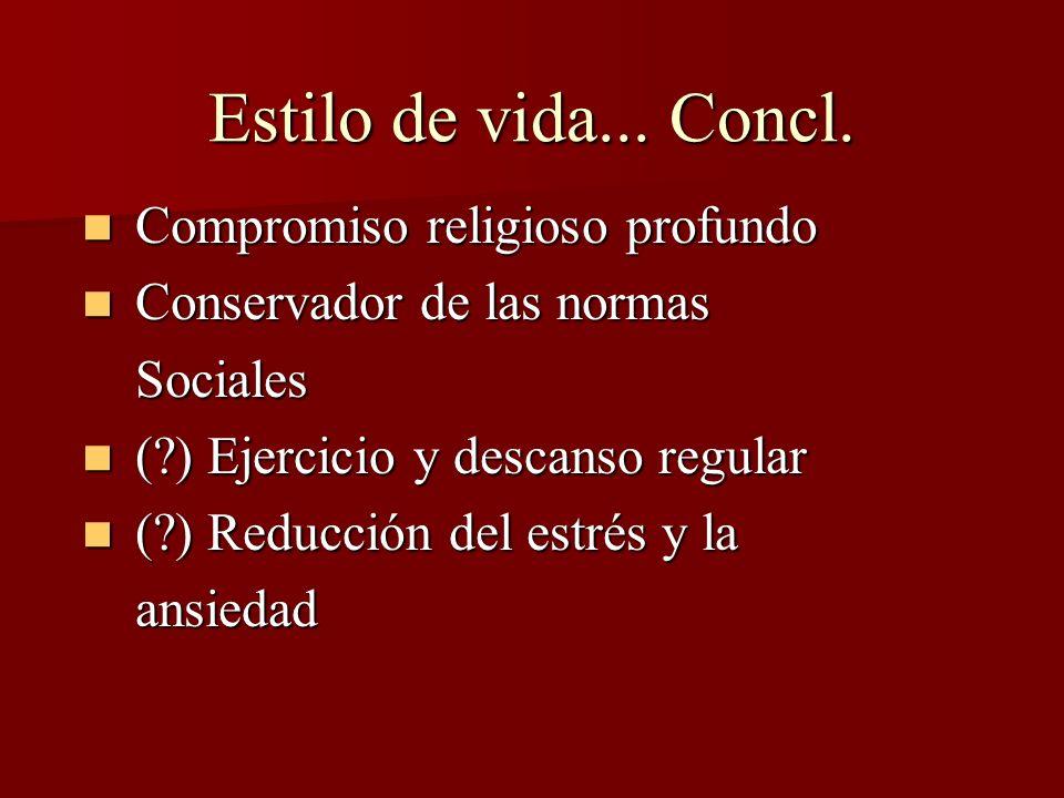 Estilo de vida... Concl. Compromiso religioso profundo Compromiso religioso profundo Conservador de las normas Conservador de las normas Sociales Soci