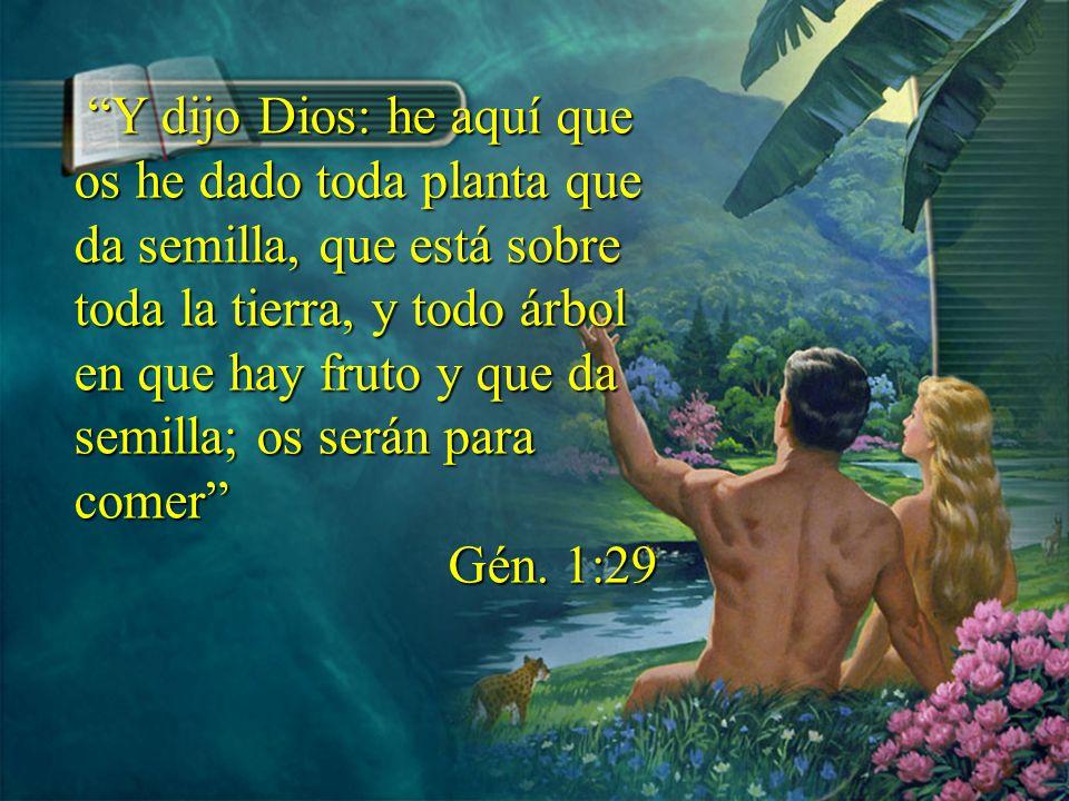 Y dijo Dios: he aquí que os he dado toda planta que da semilla, que está sobre toda la tierra, y todo árbol en que hay fruto y que da semilla; os será