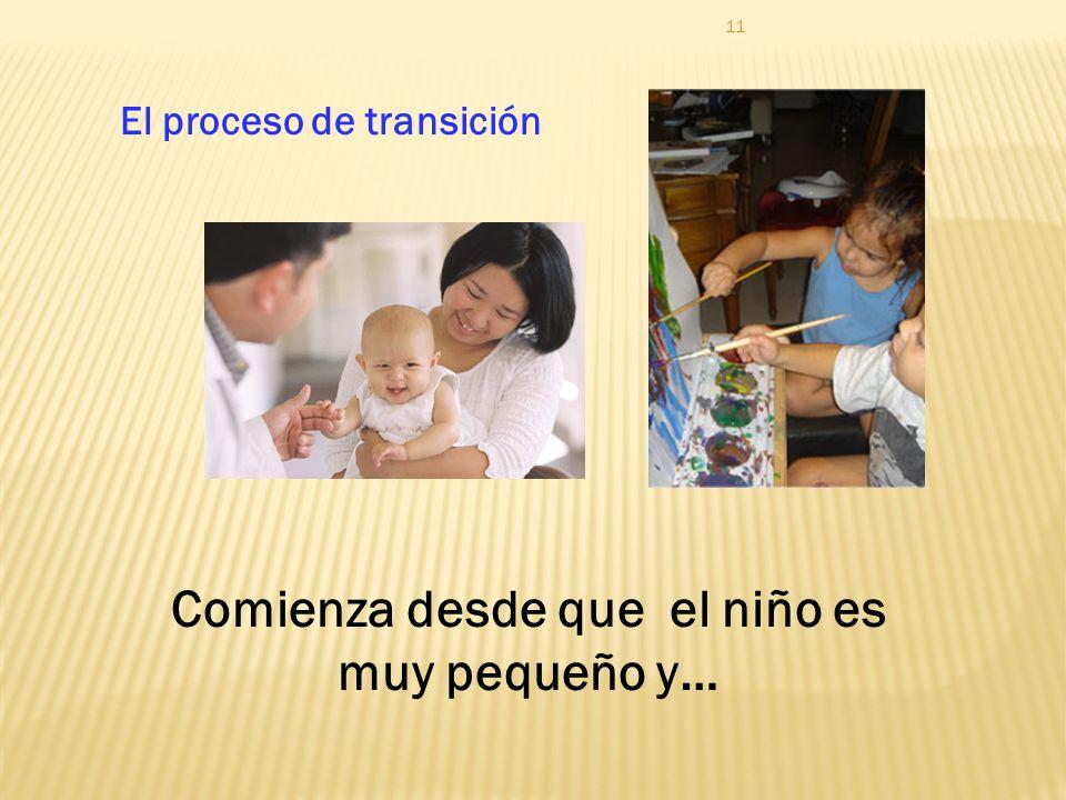 11 El proceso de transición Comienza desde que el niño es muy pequeño y…