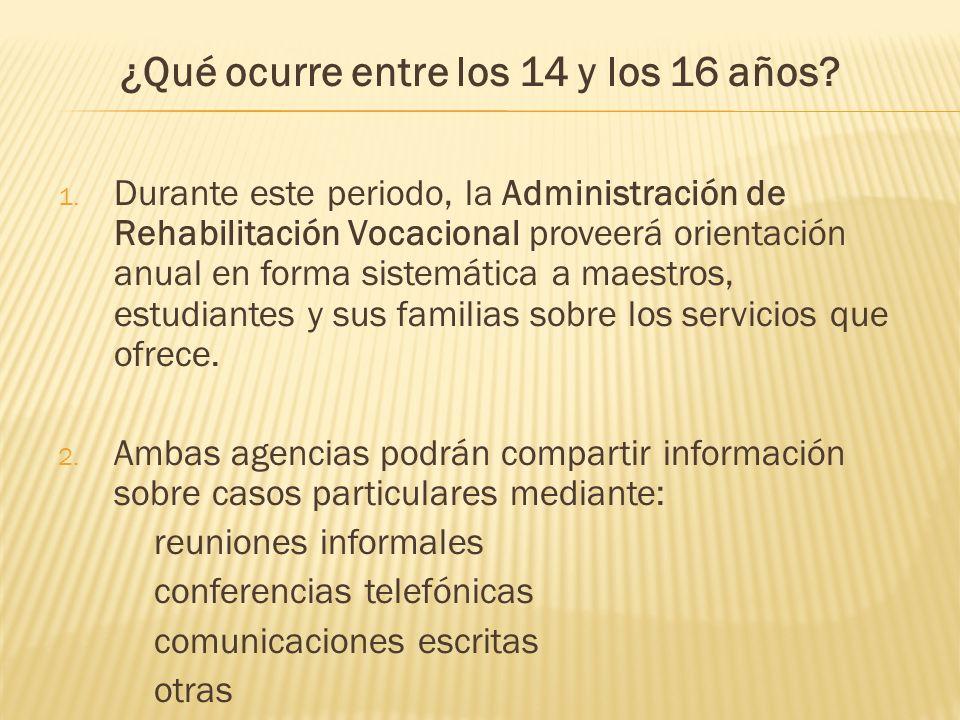 1. Durante este periodo, la Administración de Rehabilitación Vocacional proveerá orientación anual en forma sistemática a maestros, estudiantes y sus