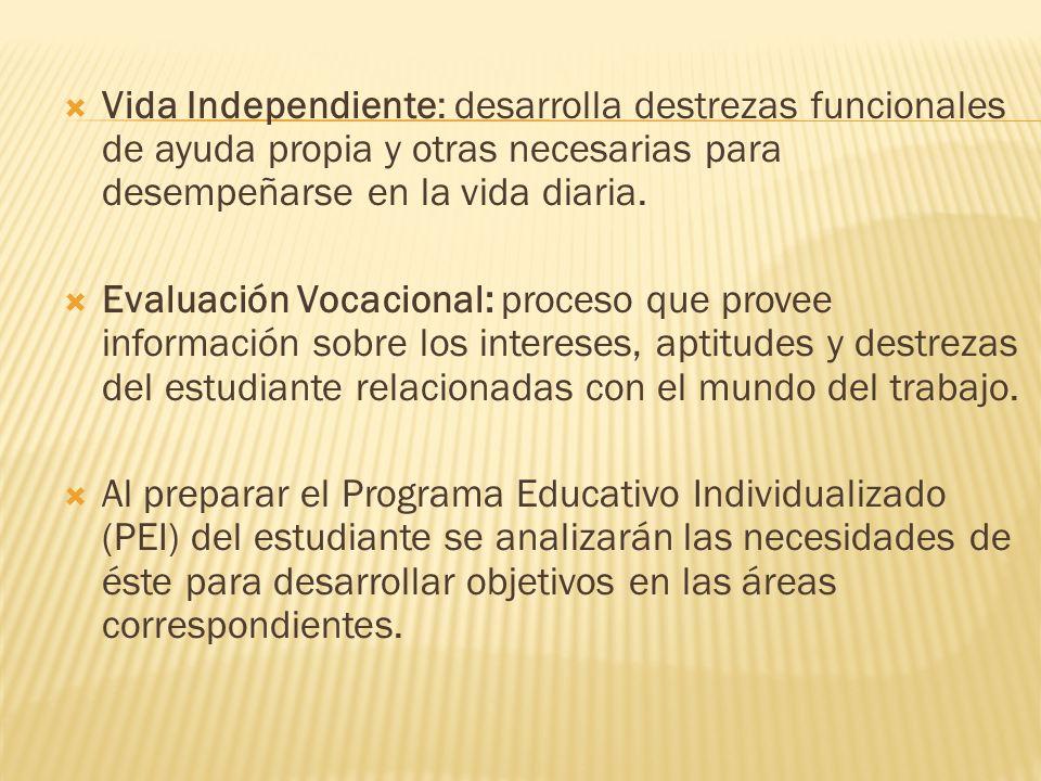 Vida Independiente: desarrolla destrezas funcionales de ayuda propia y otras necesarias para desempeñarse en la vida diaria.