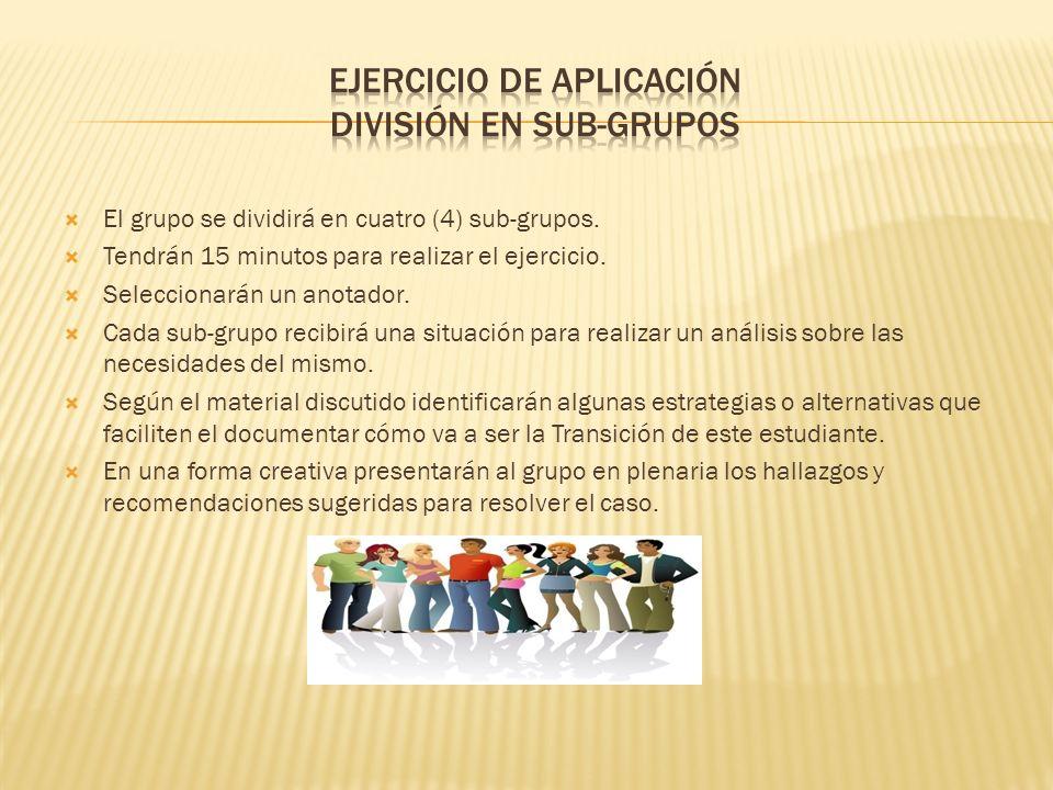El grupo se dividirá en cuatro (4) sub-grupos.Tendrán 15 minutos para realizar el ejercicio.