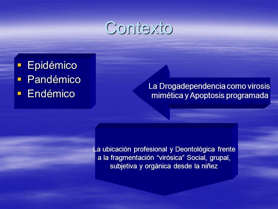 Contexto Epidémico Epidémico Pandémico Pandémico Endémico Endémico La Drogadependencia como virosis mimética y Apoptosis programada La ubicación profe