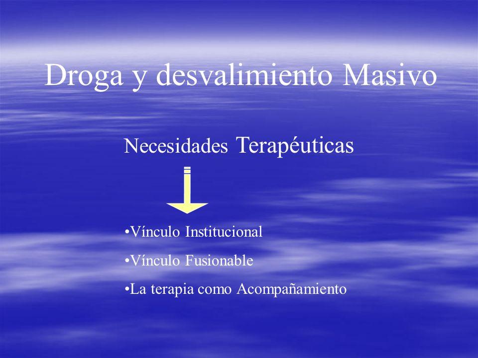 Droga y desvalimiento Masivo Necesidades Terapéuticas Vínculo Institucional Vínculo Fusionable La terapia como Acompañamiento