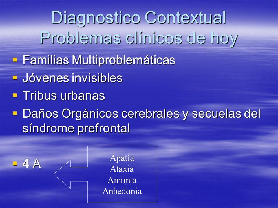 Diagnostico Contextual Problemas clínicos de hoy Familias Multiproblemáticas Familias Multiproblemáticas Jóvenes invisibles Jóvenes invisibles Tribus